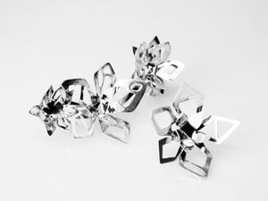 Futuristic Flower Ear Climbers - Sterling Silver, One of a Kind - TIN HAUS Jewelry
