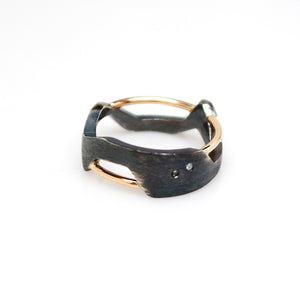 Women's Galaxy Ring - Oxidized, 14KT Yellow Gold, Sterling Silver, White Diamonds - TIN HAUS Jewelry