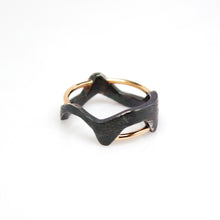 Load image into Gallery viewer, Women's Galaxy Ring - Oxidized, 14KT Yellow Gold, Sterling Silver, White Diamonds - TIN HAUS Jewelry