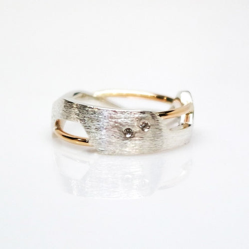 Women's Galaxy Ring - Polish, 14KT Yellow Gold, Sterling Silver, White Diamonds - TIN HAUS Jewelry