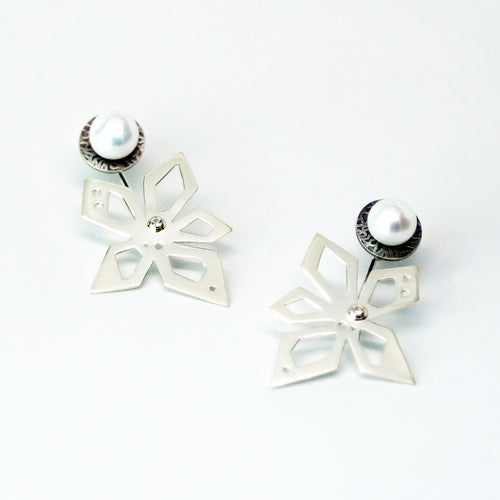 Hover Earrings - Sterling Silver, 18KT Yellow Gold Accent, White Freshwater Button Pearls, Lab Grown Diamonds - TIN HAUS Jewelry