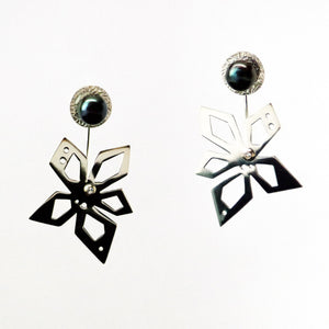 Hover Earrings - Sterling Silver, 18KT Yellow Gold Accent, Peacock Freshwater Button Pearls, Lab Grown Diamonds - TIN HAUS Jewelry