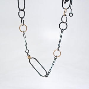 Interlink Oxidized 14KT Yellow Gold Sterling Silver Gold Rutilated Quartz Necklace - TIN HAUS Jewelry