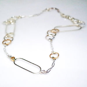 Interlink 14KT Yellow Gold Sterling Silver Gold Rutilated Quartz Necklace - TIN HAUS Jewelry