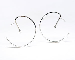Lunar Hoops 2.0 - Sterling Silver or 14KT Gold with Choice of Gemstones - TIN HAUS Jewelry