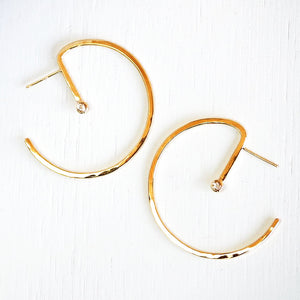 Lunar Hoops, Small - Sterling Silver or 14KT Gold with Choice of Gemstones - TIN HAUS Jewelry