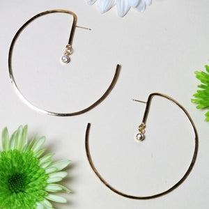 Lunar Star 14K Gold Gemstone Hoop Earrings