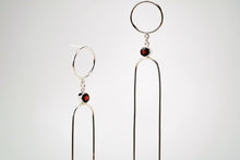 Load image into Gallery viewer, Nefertiti Earrings - Sterling Silver, Garnet Faceted Stones - TIN HAUS Jewelry