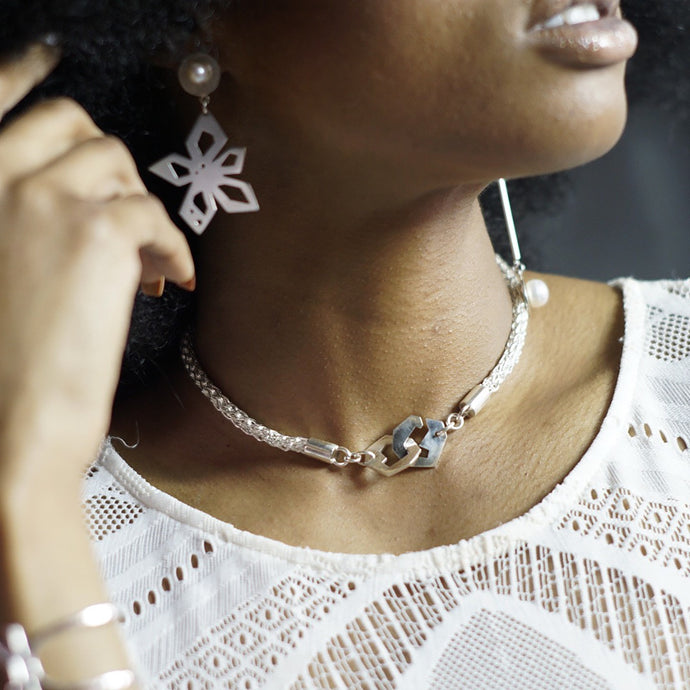 Nova Earrings and Presence III-Loop Choker Necklace on model