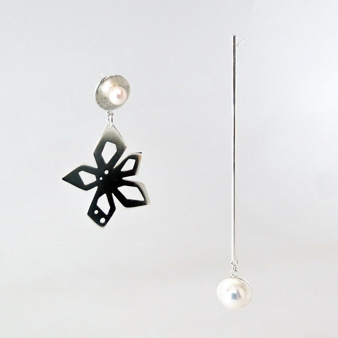 Nova Earrings - Sterling Silver, White Freshwater Pearls - TIN HAUS Jewelry