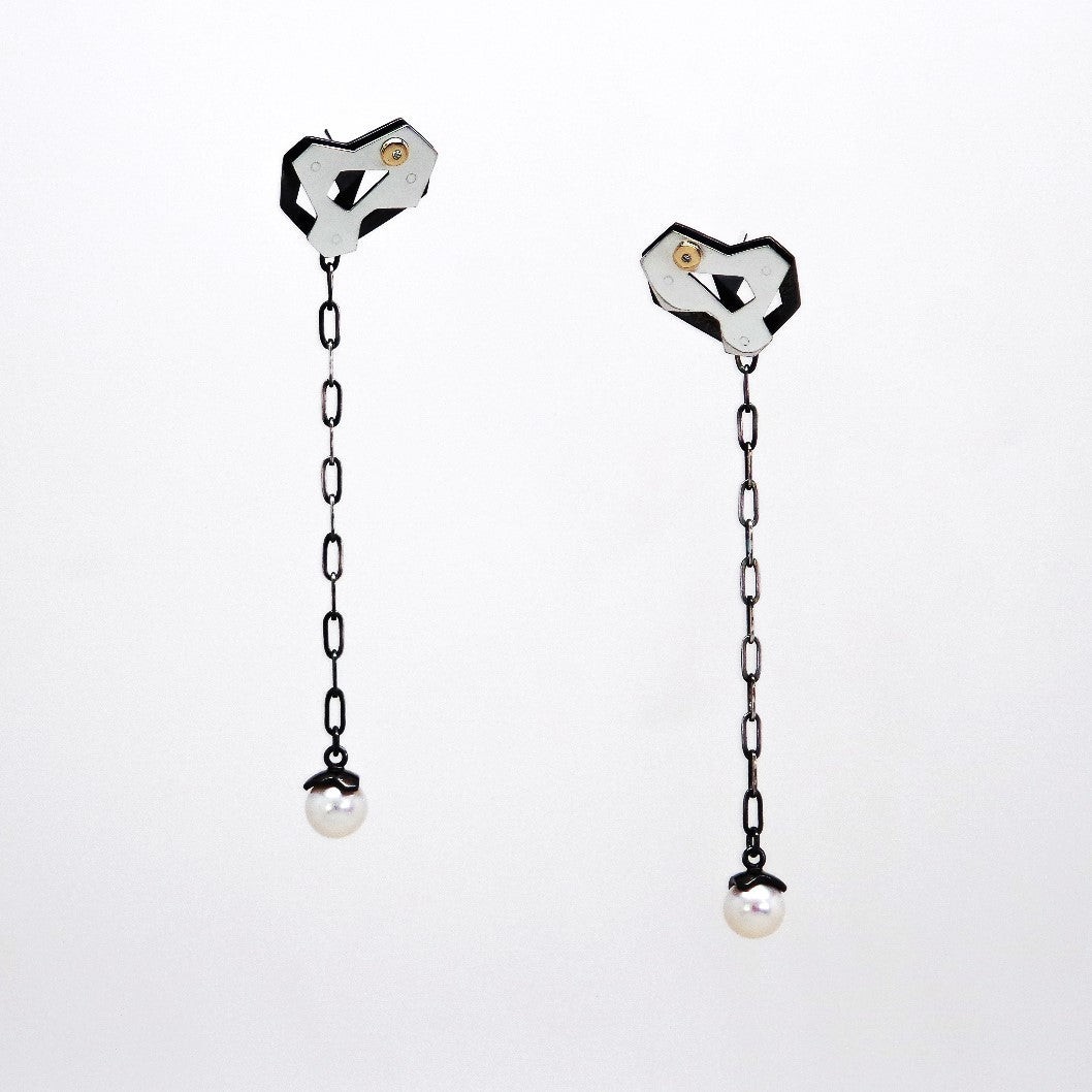Orbiter Earrings - Sterling Silver, 14KT Yellow Gold, Diamonds, Pearls - TIN HAUS Jewelry