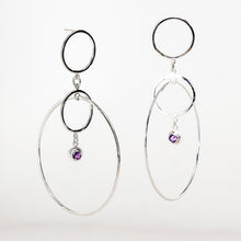 Load image into Gallery viewer, Orbs Earrings - Sterling Silver, Amethyst Faceted Gemstones - TIN HAUS Jewelry