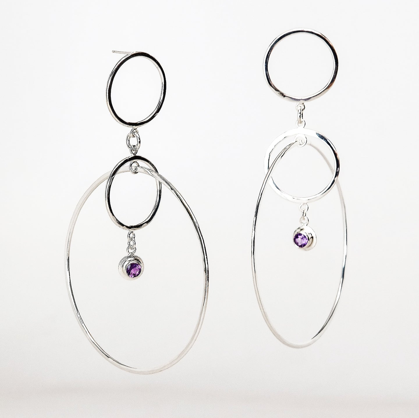Orbs Earrings - Sterling Silver, Amethyst Faceted Gemstones - TIN HAUS Jewelry