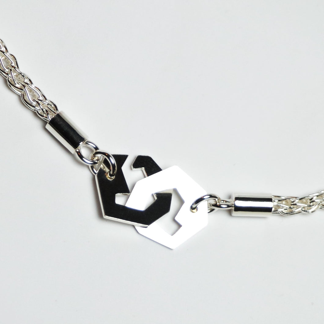 Presence II-Loop Bracelet in Polish - Sterling Silver, Fine Silver - TIN HAUS Jewelry