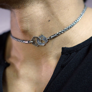 Presence II-Loop Necklace in Patina - Sterling Silver, Fine Silver - TIN HAUS Jewelry