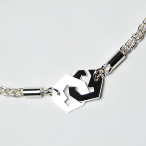 Presence II-Loop Necklace in Polish - Sterling Silver, Fine Silver - TIN HAUS Jewelry