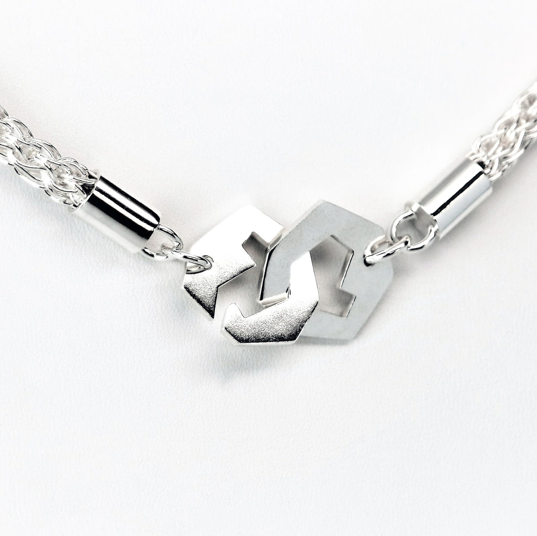 Presence III-Loop Necklace in High Polish - Sterling Silver, Fine Silver - TIN HAUS Jewelry