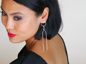 Nefertiti Earrings - Sterling Silver, Garnet Faceted Stones - TIN HAUS Jewelry