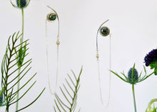 Load image into Gallery viewer, Saturn Earrings - Sterling Silver, 18KT Yellow Gold Bezel, Lab Grown Diamonds, Black Peacock Freshwater Button Pearls - TIN HAUS Jewelry