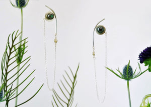 Saturn Earrings - Sterling Silver, 18KT Yellow Gold Bezel, Lab Grown Diamonds, Black Peacock Freshwater Button Pearls - TIN HAUS Jewelry