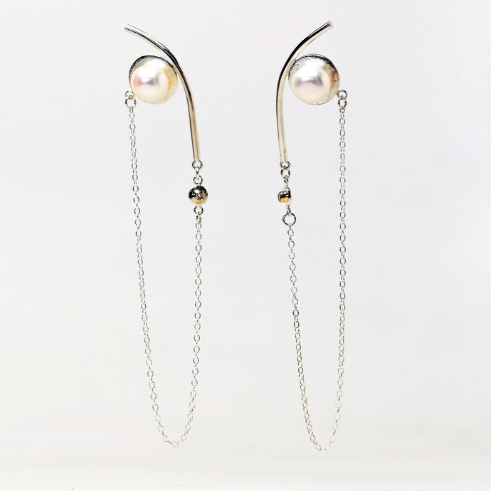 Saturn Earrings - Sterling Silver, 18KT Yellow Gold Bezel, Lab Grown Diamonds, White Freshwater Button Pearls - TIN HAUS Jewelry