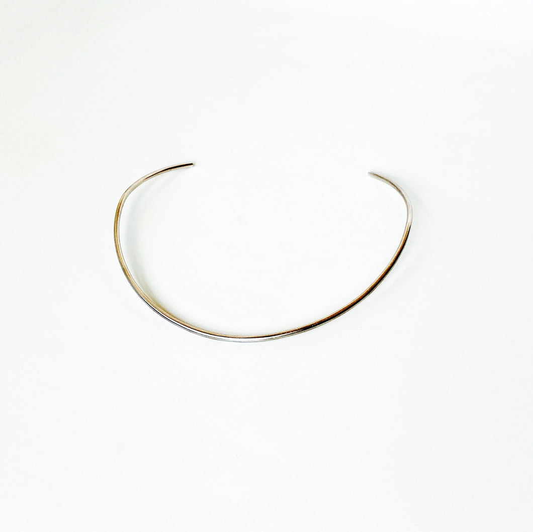 Simplicity Open Collar Wire Choker - Sterling Silver in Polish, Patina, or Satin Finish - TIN HAUS® Jewelry