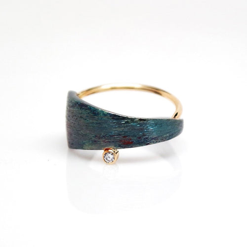 Men's Solar Ring - Brush-textured, Oxidized, 14KT Gold, Sterling Silver, CVD Diamond - TIN HAUS Jewelry
