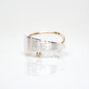 Men's Solar Ring - Brush-textured, Polish, 14KT Gold, Sterling Silver, CVD Diamond - TIN HAUS Jewelry