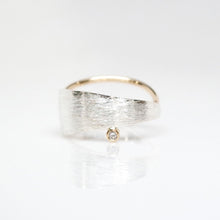 Load image into Gallery viewer, Men's Solar Ring - Brush-textured, Polish, 14KT Gold, Sterling Silver, CVD Diamond - TIN HAUS Jewelry