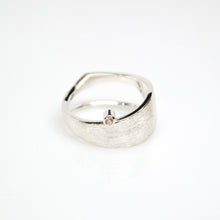 Load image into Gallery viewer, Men's Solar Ring - Brush-textured, Polish, Sterling Silver, White Topaz - TIN HAUS Jewelry