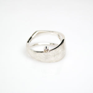 Men's Solar Ring - Brush-textured, Polish, Sterling Silver, White Topaz - TIN HAUS Jewelry