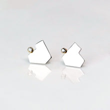Load image into Gallery viewer, Stillness Studs with Stones, Large - Sterling Silver, 14KT Yellow Gold, Lab Grown Diamonds - TIN HAUS Jewelry