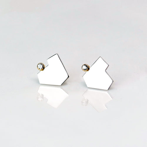 Stillness Studs with Stones, Large - Sterling Silver, 14KT Yellow Gold, Lab Grown Diamonds - TIN HAUS Jewelry