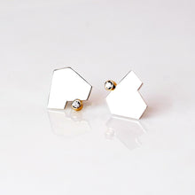Load image into Gallery viewer, Stillness Studs with Stones, Large - Sterling Silver, 14KT Yellow Gold, White Topaz - TIN HAUS Jewelry