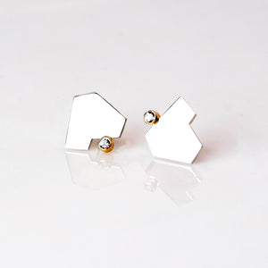 Stillness Studs with Stones, Large - Sterling Silver, 14KT Yellow Gold, White Topaz - TIN HAUS Jewelry