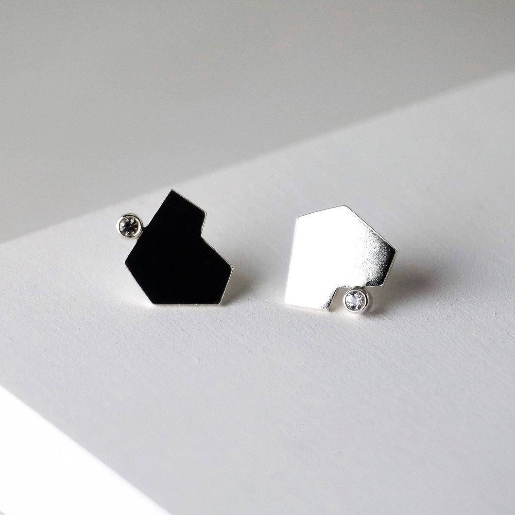 Stillness Studs with Stones, Large - Sterling Silver, White Topaz - TIN HAUS Jewelry