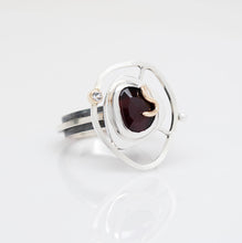 Load image into Gallery viewer, Teria Ring Size 7 - 14K Yellow Gold, Sterling Silver, Rhodolite Garnet, White Topaz, Pearl - TIN HAUS® Jewelry