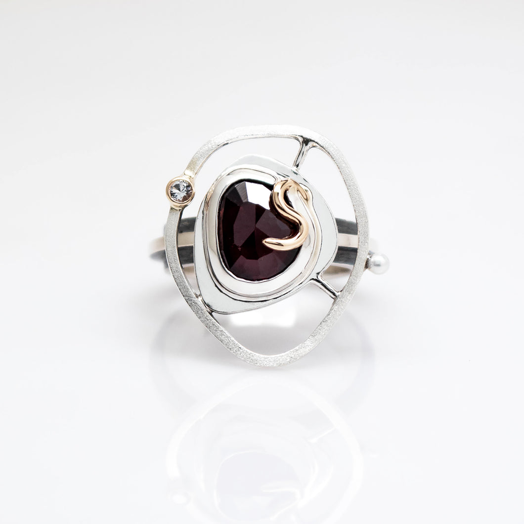 Teria Ring Size 7 - 14K Yellow Gold, Sterling Silver, Rhodolite Garnet, White Topaz, Pearl - TIN HAUS® Jewelry