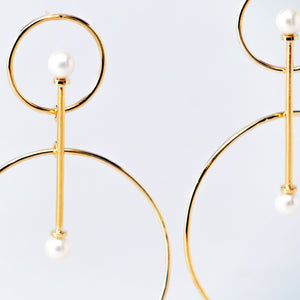 Vairochana 14KT Yellow Gold White Pearl Earrings - TIN HAUS Jewelry