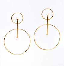 Load image into Gallery viewer, Vairochana 14KT Yellow Gold White Pearl Earrings - TIN HAUS Jewelry