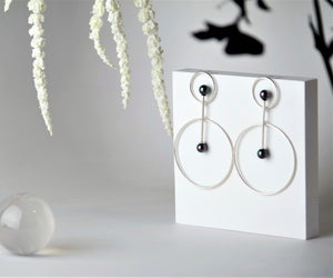 Vairochana Sterling Silver Peacock Pearl Earrings - TIN HAUS Jewelry