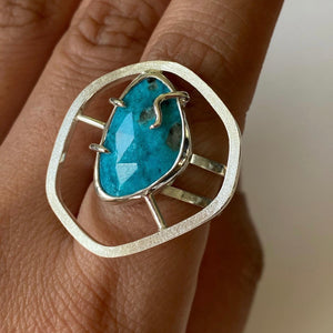 Tranquility Ring - Sterling Silver, American Turquoise - TIN HAUS