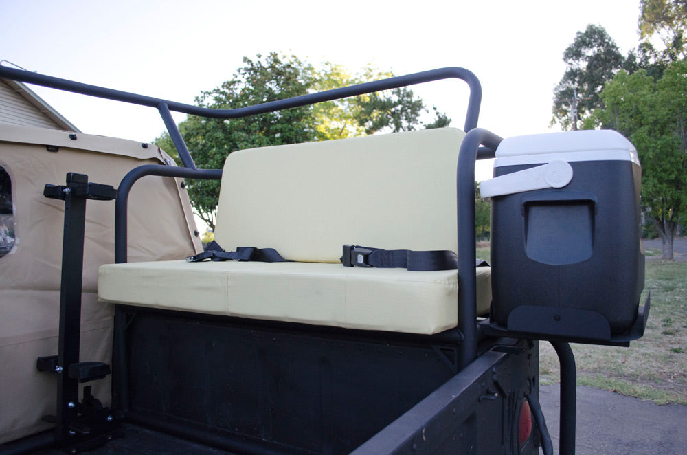 custom fabricated rear seating for Humvee