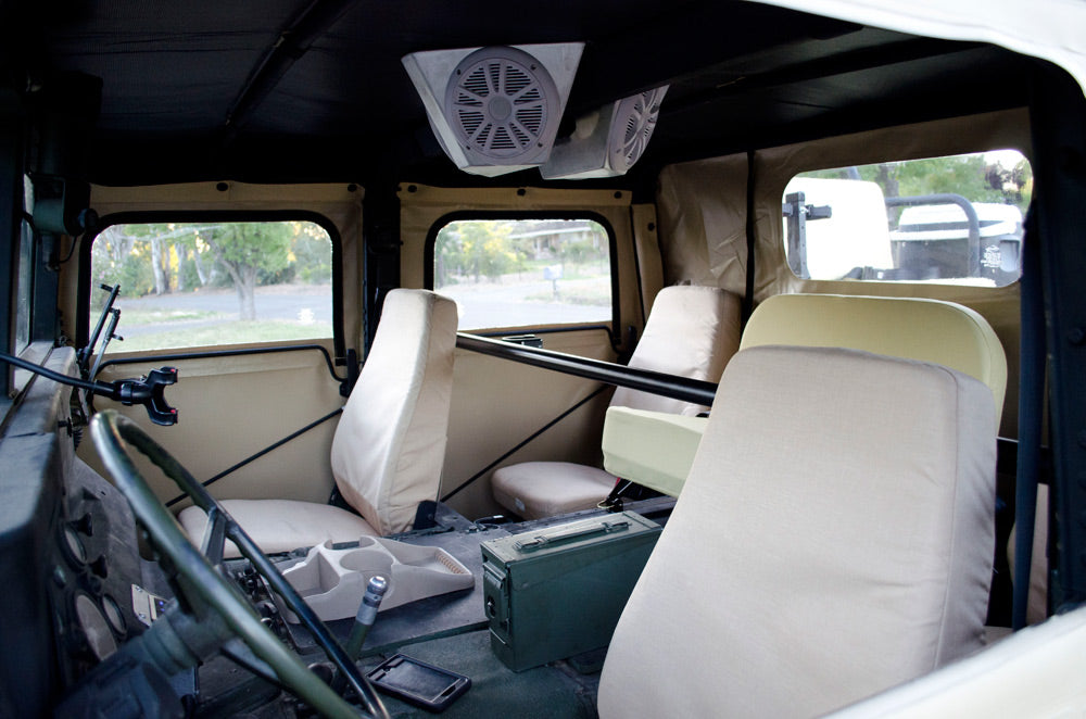 Humvee project new seats custom stereo cans
