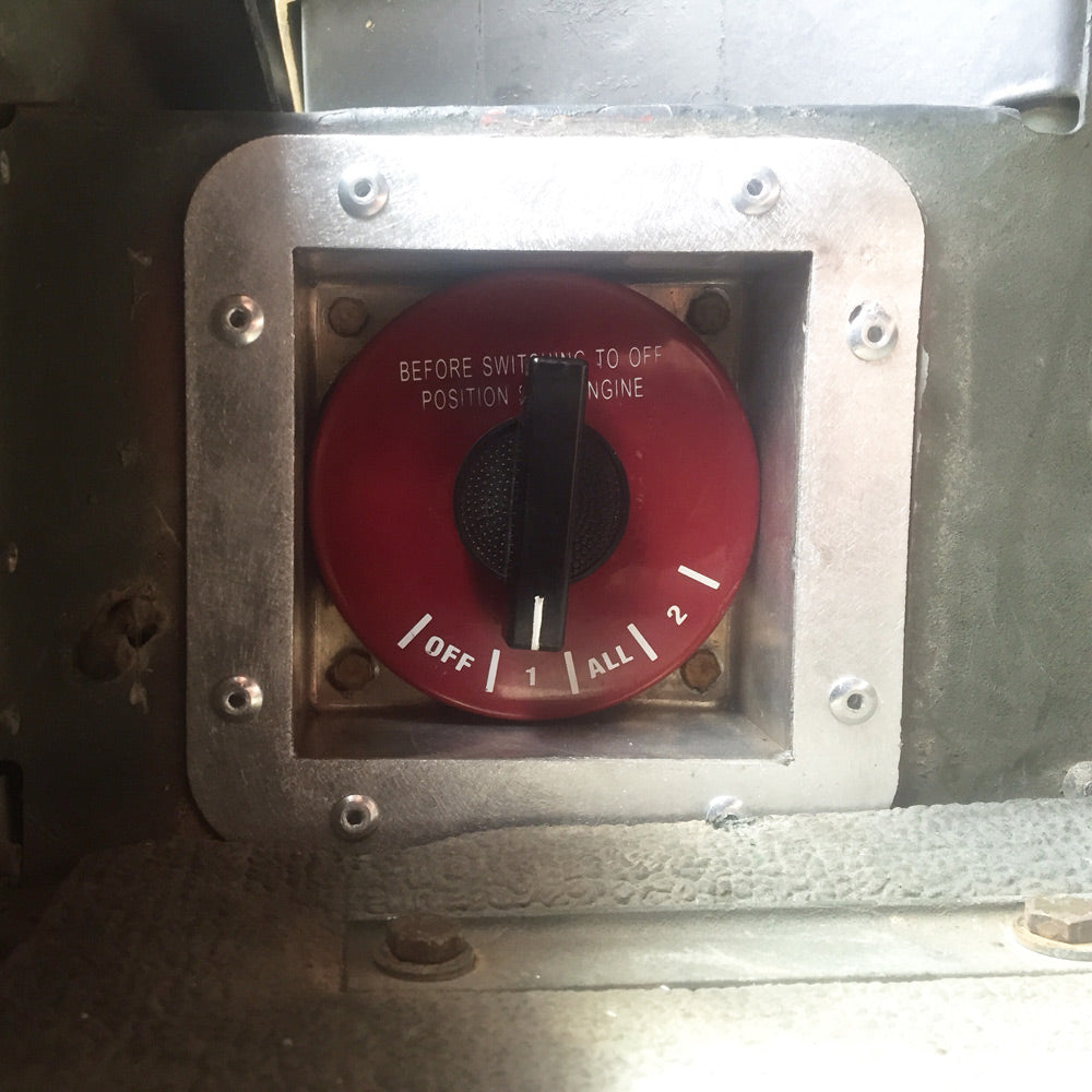 Custom aluminum battery switch box in Humvee