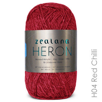 Zealana HERON Worsted Red Chilli