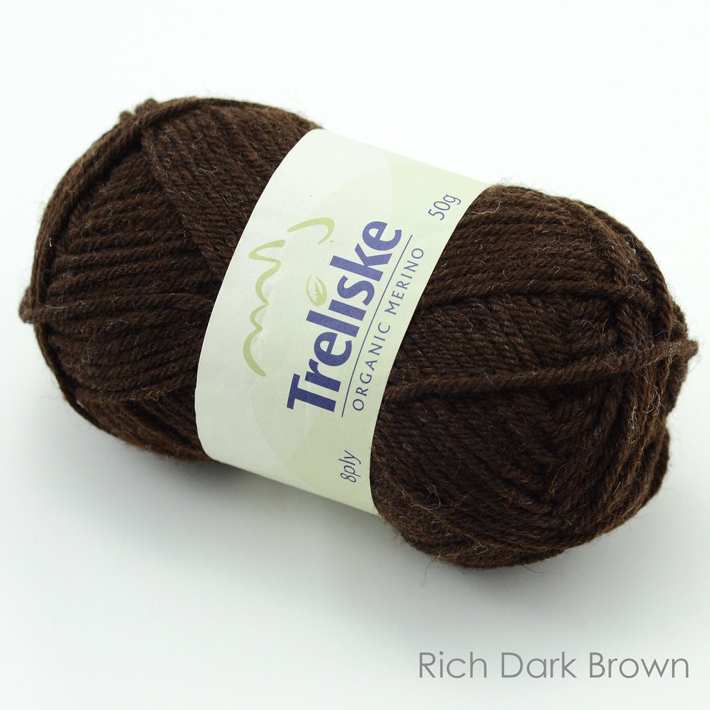 Treliske Merino 8ply Rich Dark Brown