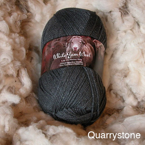 White Gum Wool Silk Merino 5ply Quarrystone