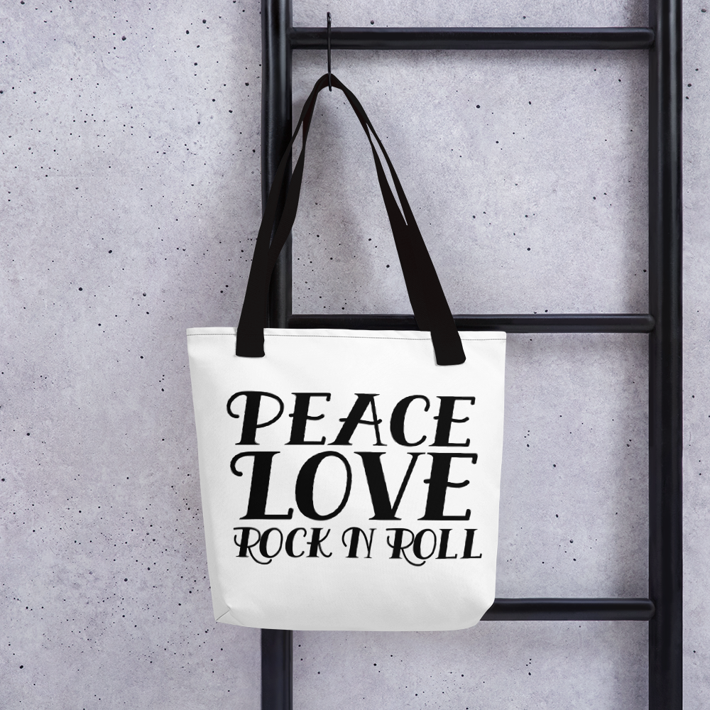 Peace, Love, Rock N Roll Tote Bag