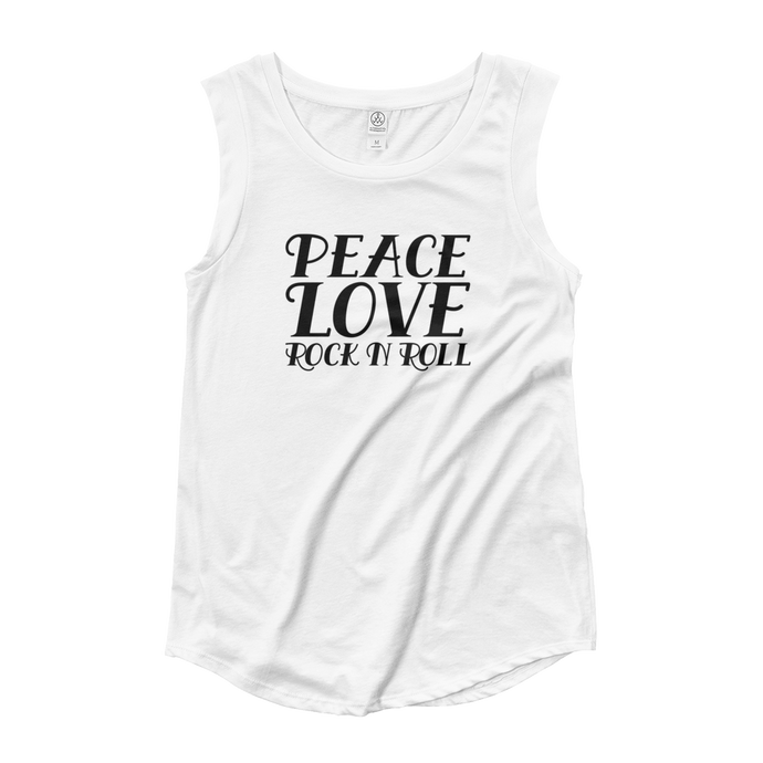 Peace, Love, Rock N Roll Muscle Tee